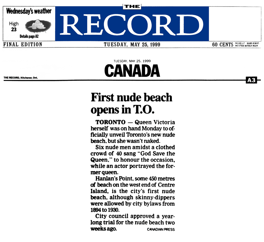 Kitchener Record 1999-05-25 - Hanlan's Point CO-zone opens